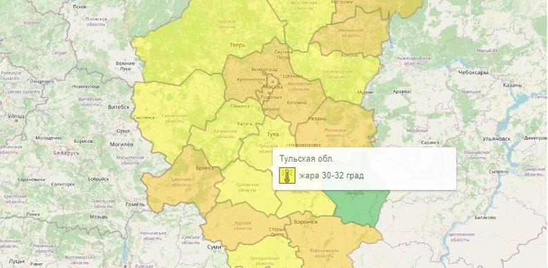 В Тульской области из-за аномальной жары объявили желтый уровень опасности